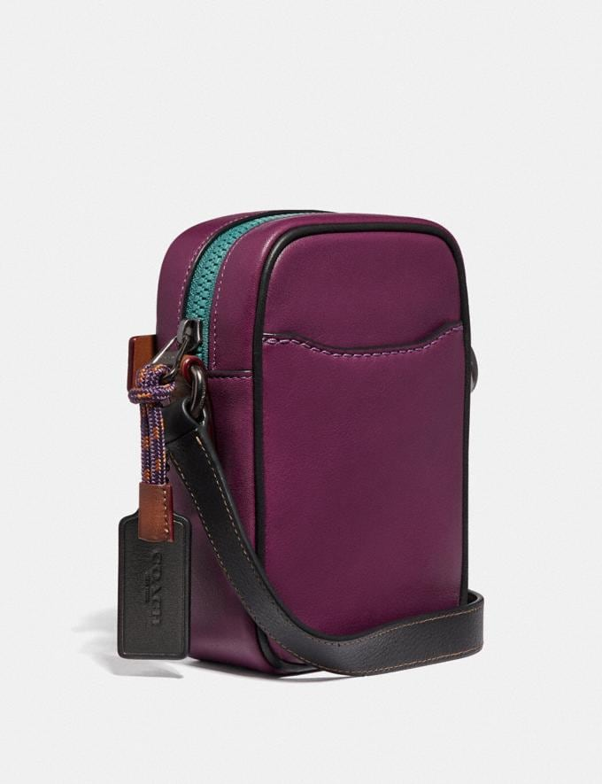 Coach Dylan 10 in Smooth Leather With Coach Print Plum/Black/Black Copper Men Bags Messenger Bags Alternate View 1