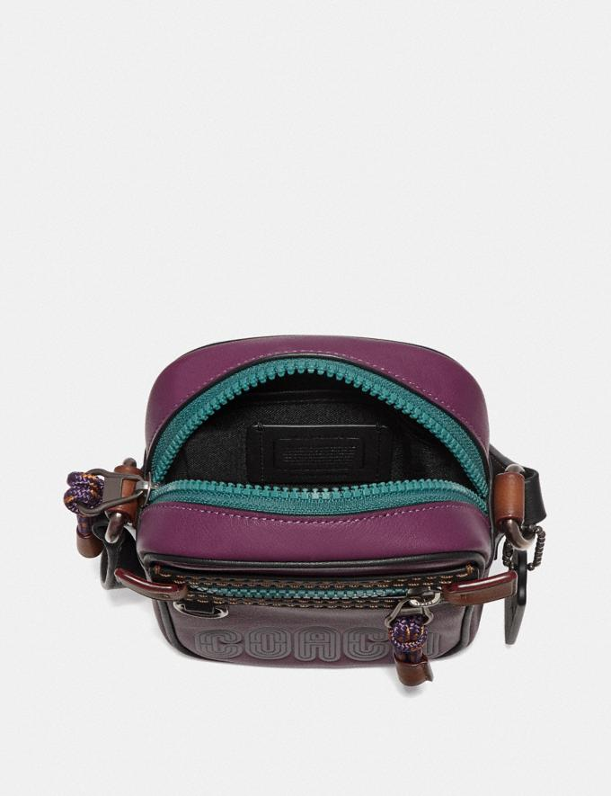 Coach Dylan 10 in Smooth Leather With Coach Print Plum/Black/Black Copper Men Bags Messenger Bags Alternate View 2