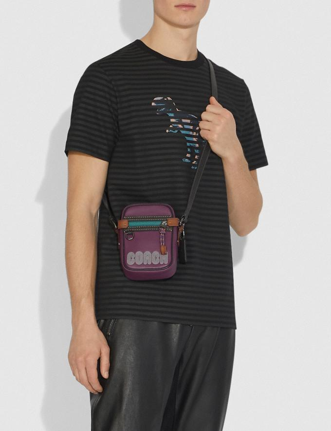 Coach Dylan 10 in Smooth Leather With Coach Print Plum/Black/Black Copper Men Bags Messenger Bags Alternate View 3