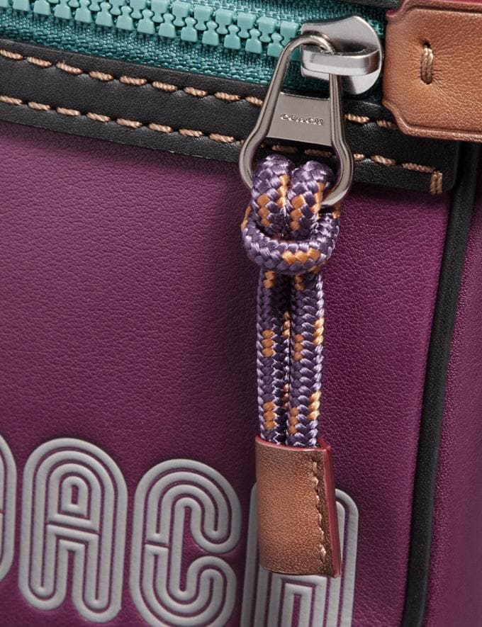 Coach Dylan 10 in Smooth Leather With Coach Print Plum/Black/Black Copper Men Bags Messenger Bags Alternate View 4