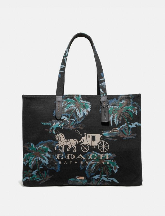 Coach Tote 42 With Horse and Carriage Black Navy Dino Palm Print/Black Copper Men Bags Totes & Duffles