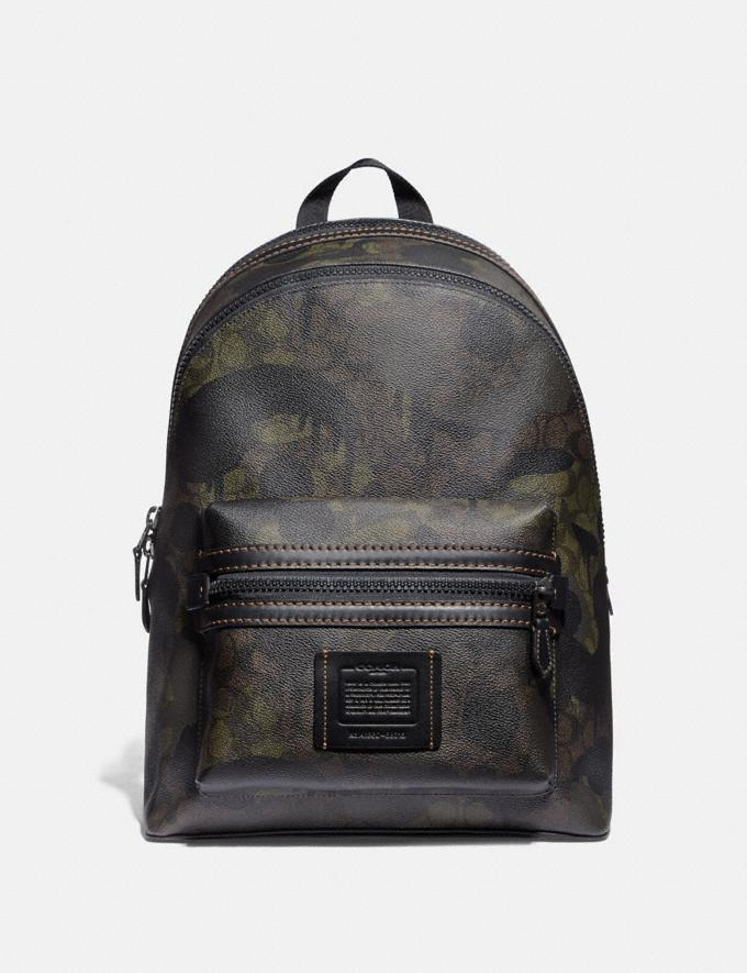 Coach Academy Backpack in Signature Canvas With Wild Beast Print Green Wild Beast Signature/Black Copper Men Bags Backpacks
