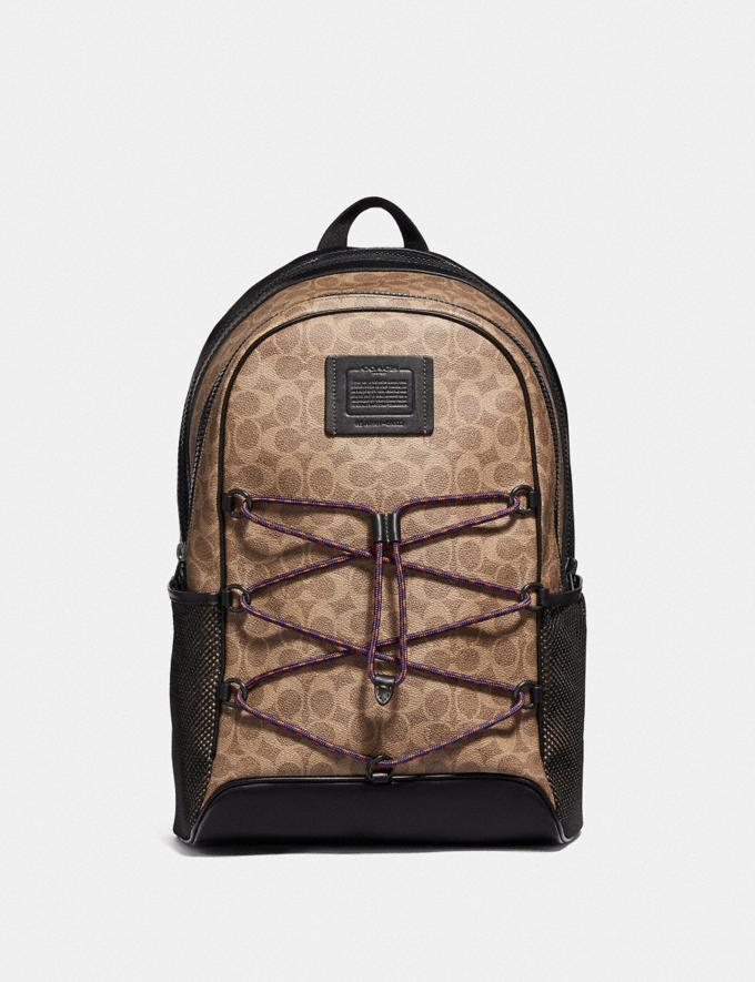 Coach Academy Sport Backpack in Signature Canvas Khaki/Black Copper Men Bags Backpacks