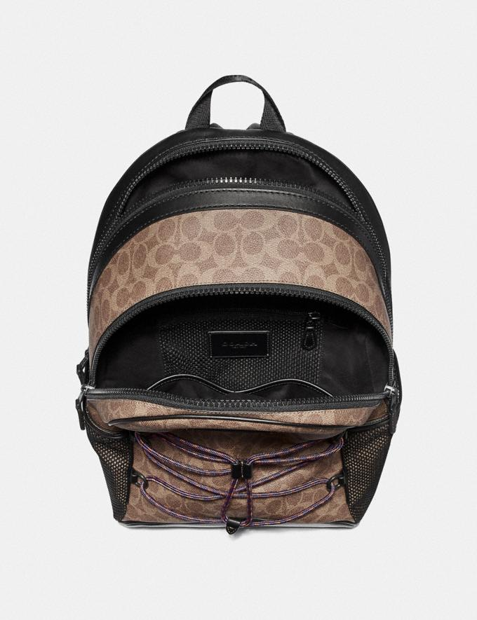 Coach Academy Sport Backpack in Signature Canvas Khaki/Black Copper Men Bags Backpacks Alternate View 2