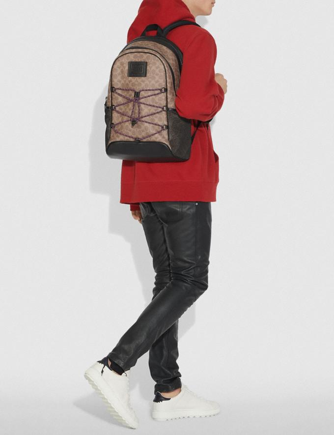 Coach Academy Sport Backpack in Signature Canvas Khaki/Black Copper Men Bags Backpacks Alternate View 3