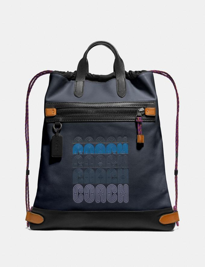 Coach Academy Drawstring Backpack in Colorblock Midnight Navy/Black Copper SALE Men's Sale Bags
