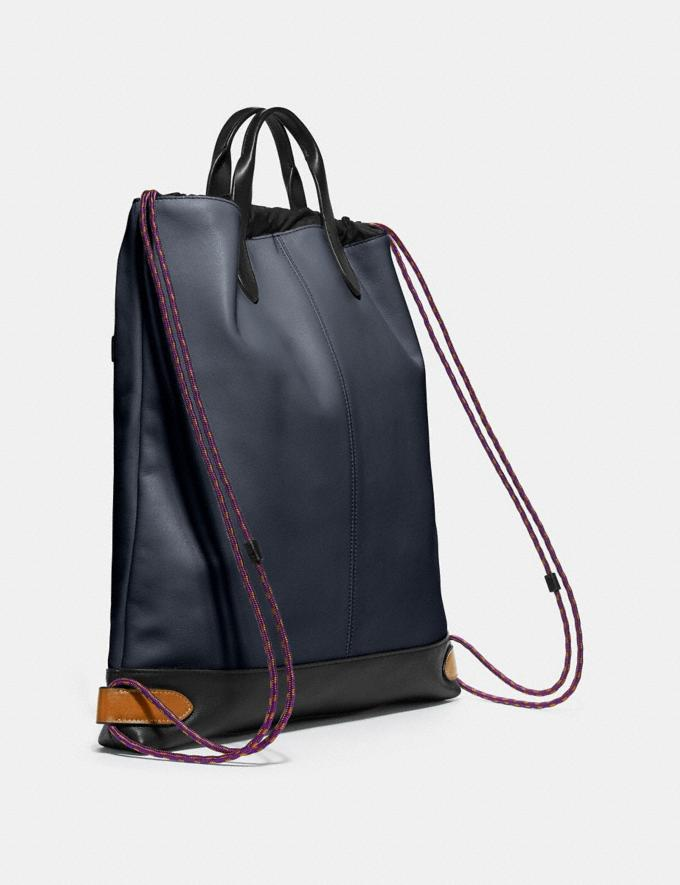 Coach Academy Drawstring Backpack in Colorblock Midnight Navy/Black Copper SALE Men's Sale Bags Alternate View 1