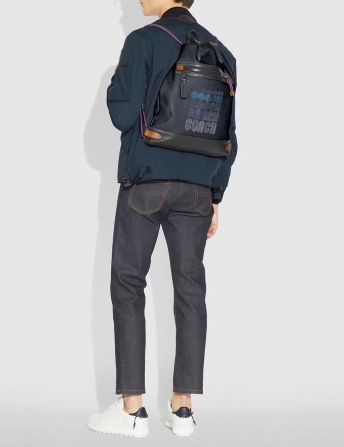 Coach Academy Drawstring Backpack in Colorblock Midnight Navy/Black Copper SALE Men's Sale Bags Alternate View 3