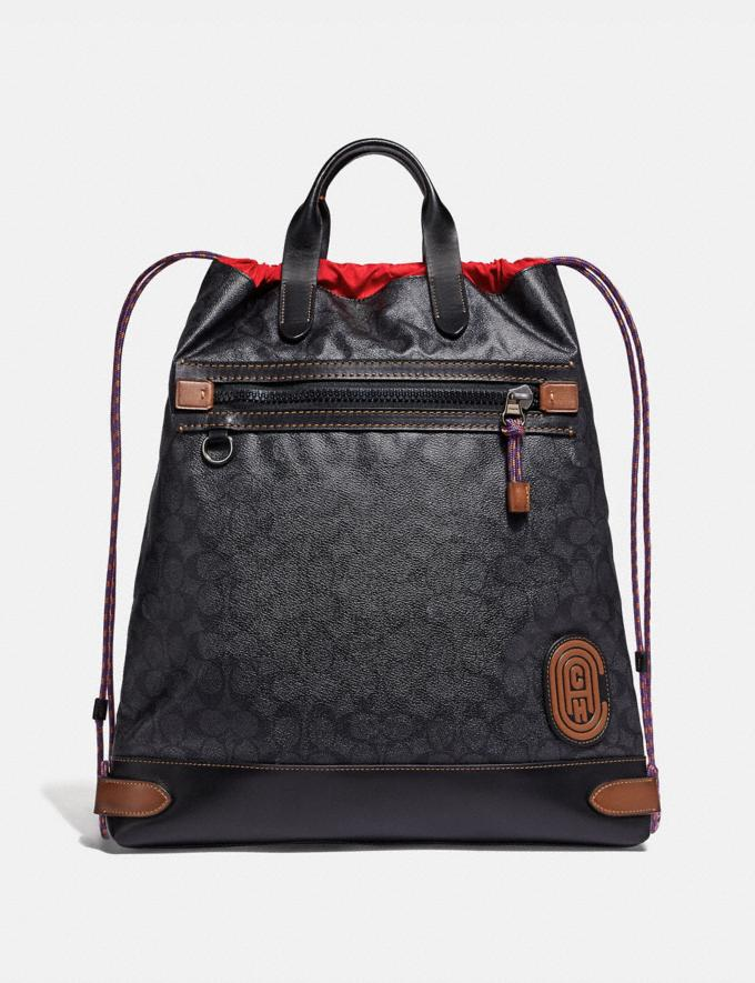 Coach Academy Drawstring Backpack in Signature Canvas With Coach Patch Charcoal/Black Copper Men Edits