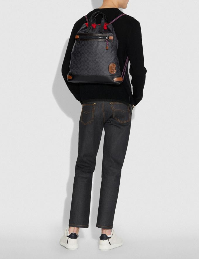 Coach Academy Drawstring Backpack in Signature Canvas With Coach Patch Charcoal/Black Copper Men Edits Alternate View 3