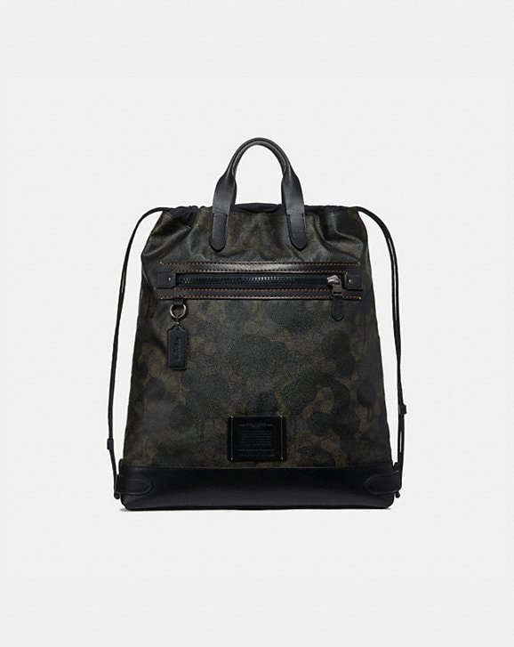 Coach ACADEMY DRAWSTRING BACKPACK IN SIGNATURE CANVAS WITH WILD BEAST PRINT
