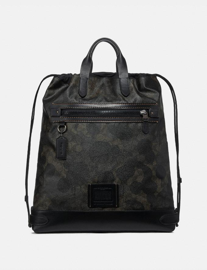 Coach Academy Drawstring Backpack in Signature Canvas With Wild Beast Print Green Wild Beast Signature/Black Copper Men Bags Backpacks
