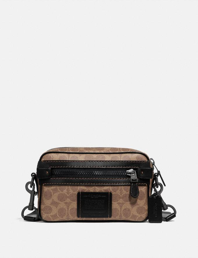Coach Academy Crossbody in Signature Canvas Khaki/Black Copper Men Bags Signature Bags