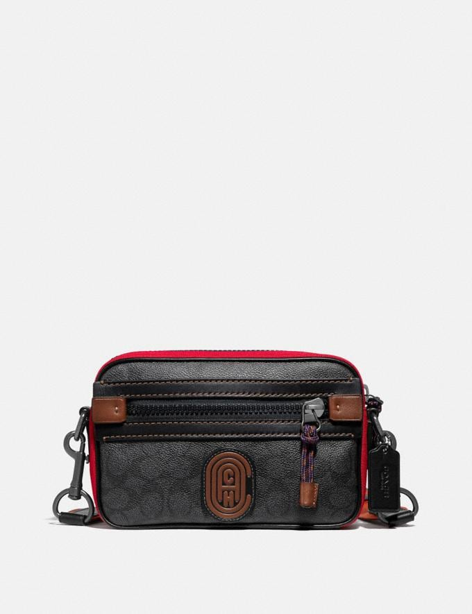 Coach Academy Crossbody in Signature Canvas With Coach Patch Charcoal/Black Copper Men Bags View All