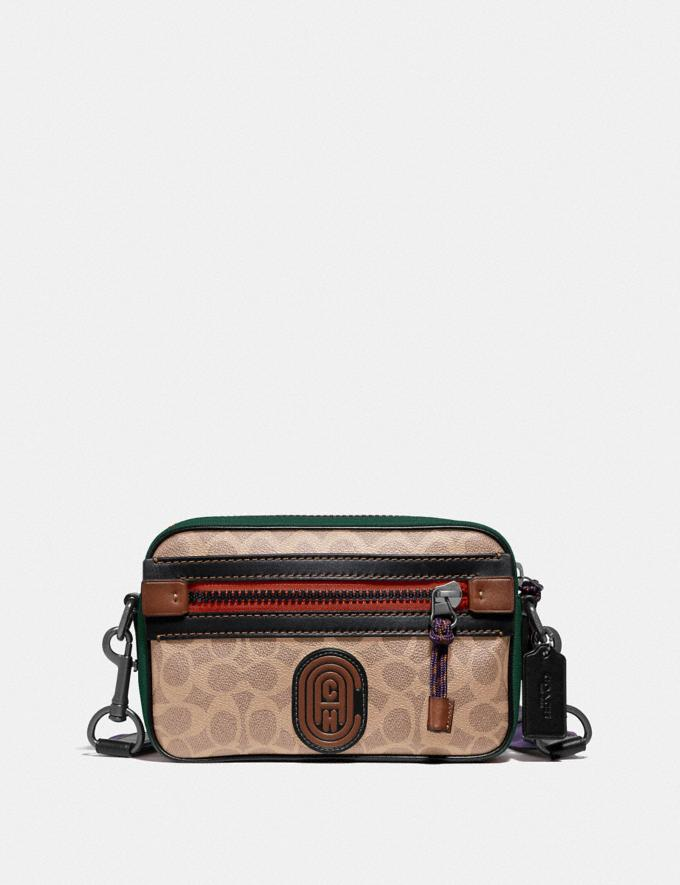 Coach Academy Crossbody in Signature Canvas With Coach Patch Khaki/Black Copper Finish Black Friday Men's Cyber Monday Sale Bags
