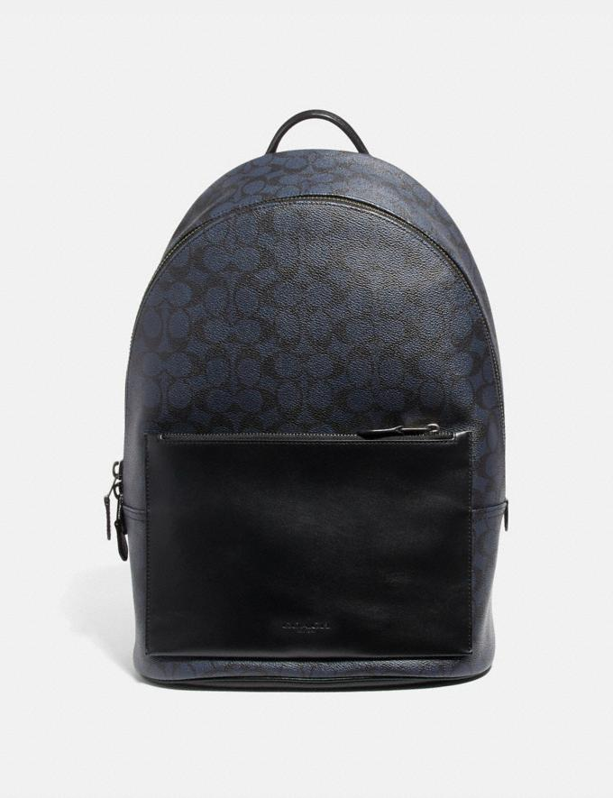 Coach Metropolitan Soft Backpack in Signature Canvas Midnight Navy/Black Antique Nickel Men Bags Backpacks