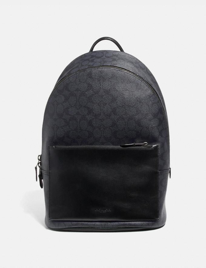 Coach Metropolitan Soft Backpack in Signature Canvas Charcoal/Black Antique Nickel SALE Men's Sale