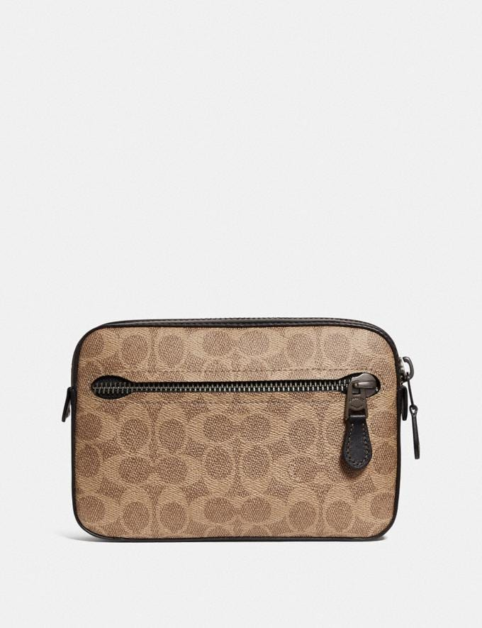Coach Metropolitan Soft Belt Bag in Signature Canvas Khaki/Black Copper Men Bags Belt Bags