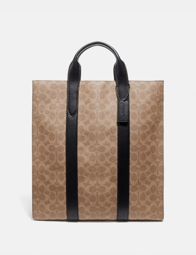Coach Metropolitan Soft Vertical Tote in Signature Canvas Khaki/Black Copper New Featured Online Exclusives