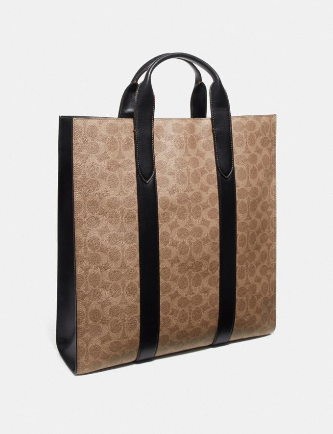 Coach Metropolitan Soft Vertical Tote in Signature Canvas Khaki/Black Copper Men Bags Totes & Duffles Alternate View 1