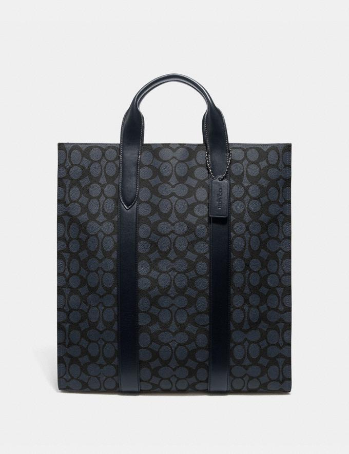 Coach Metropolitan Soft Vertical Tote in Signature Canvas Midnight Navy/Black Antique Nickel New Featured Online Exclusives