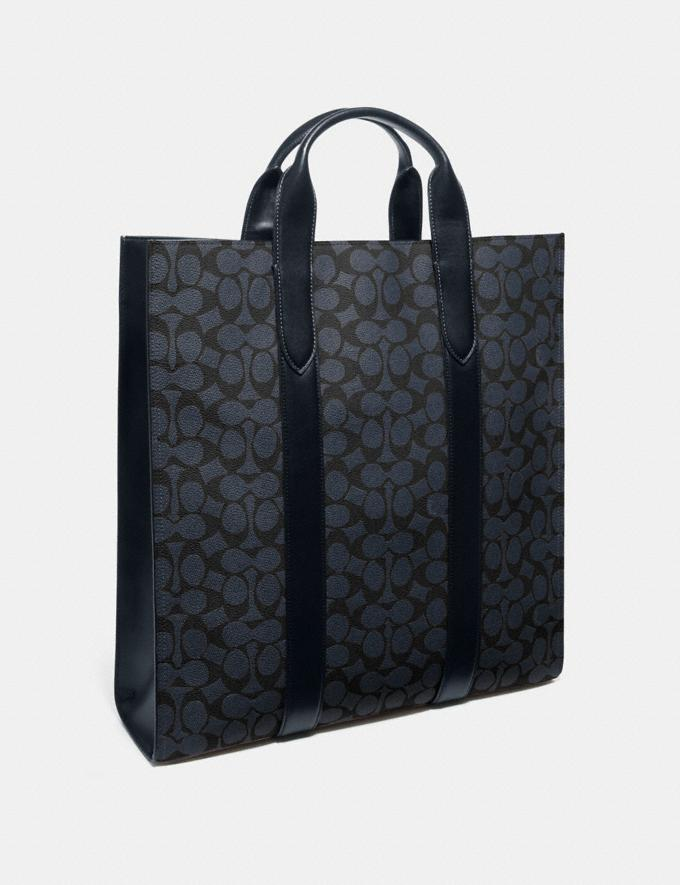 Coach Metropolitan Soft Vertical Tote in Signature Canvas Midnight Navy/Black Antique Nickel New Featured Online Exclusives Alternate View 1