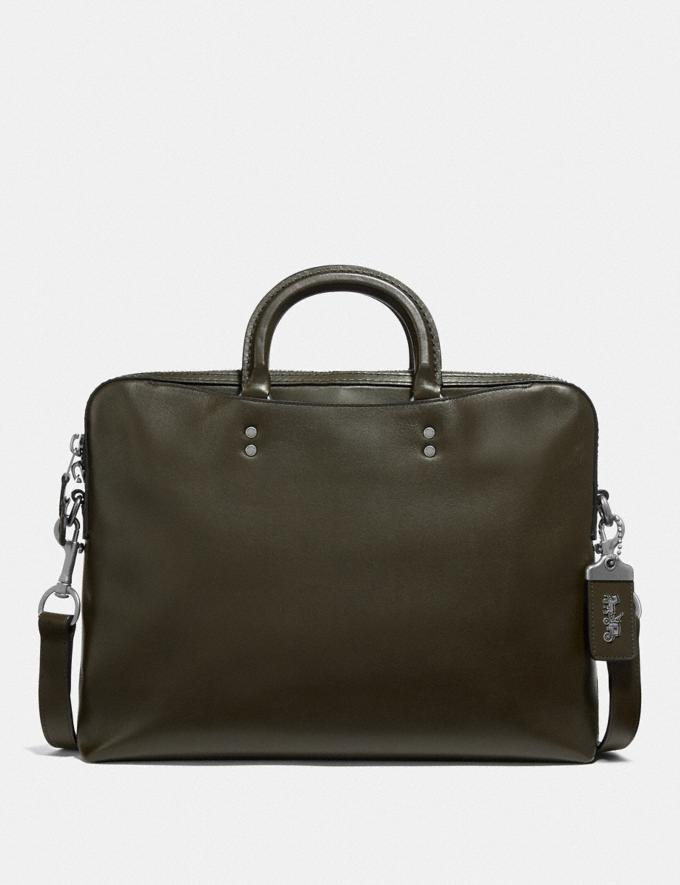 Coach Rogue Slim Brief Moss/Light Antique Nickel Men Bags Briefcases