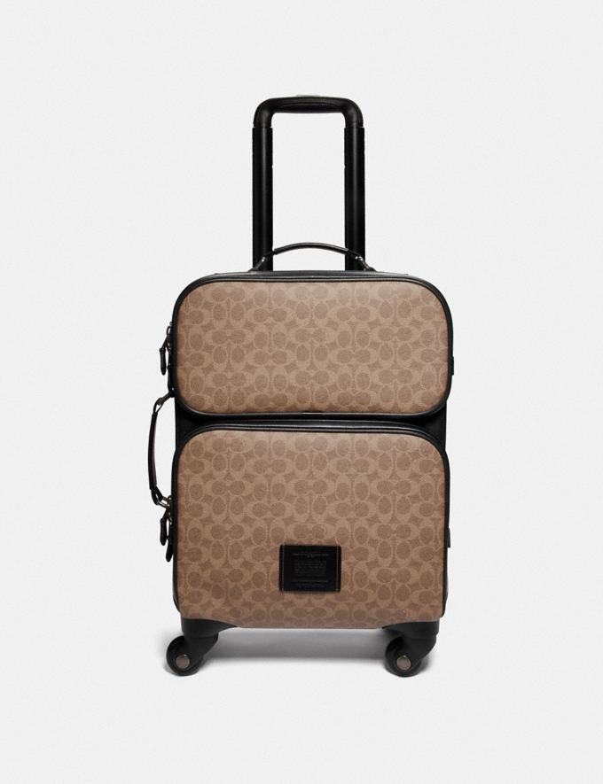 Coach Academy Travel Wheeled Carry on in Signature Canvas Black/Khaki/Black Copper New Men's New Arrivals Accessories