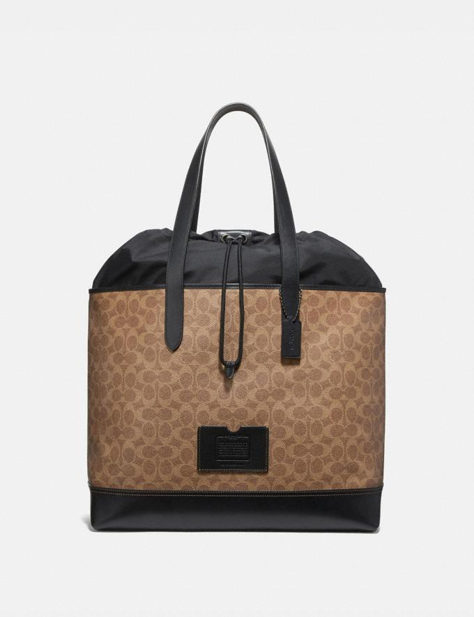 Coach Academy Travel Tote in Signature Canvas Black/Khaki/Black Copper Women Edits