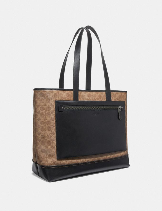 Coach Academy Travel Tote in Signature Canvas Black/Khaki/Black Copper Women Edits Alternate View 1