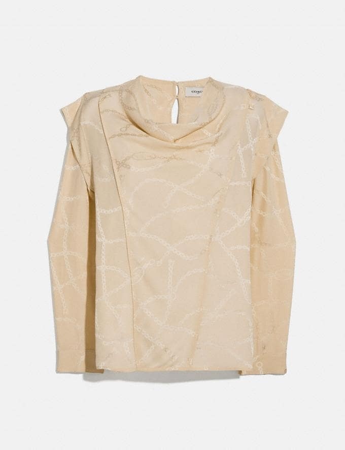 Coach Chain Jacquard Cowl Neck Blouse Cream Women Ready-to-Wear Tops & T-shirts