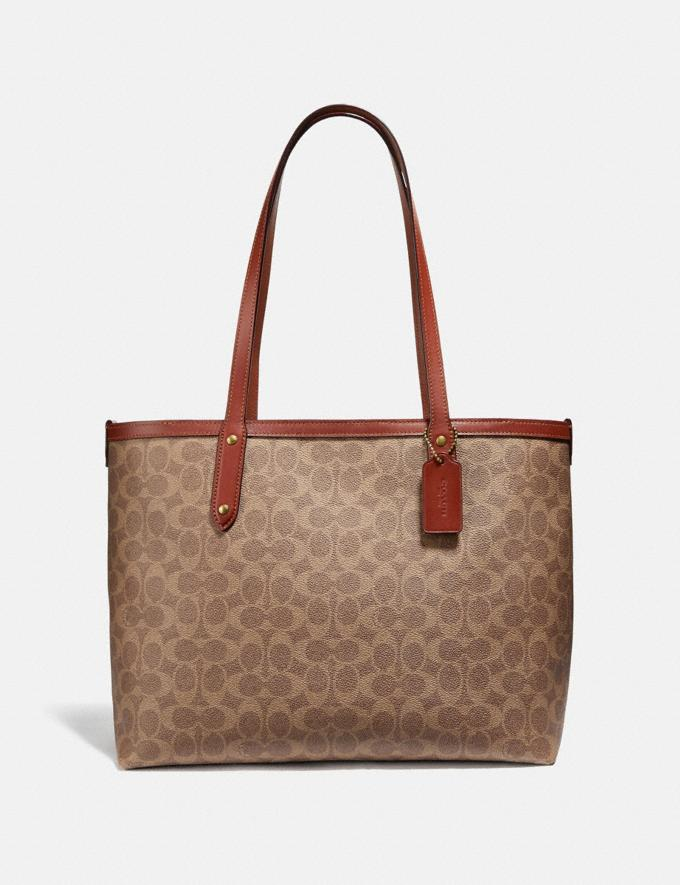 Coach Central Tote With Zip in Signature Canvas Tan/Rust/Brass Women Edits Travel