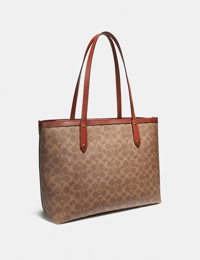 Coach Central Tote With Zip in Signature Canvas Tan/Rust/Brass Women Edits Travel Alternate View 1