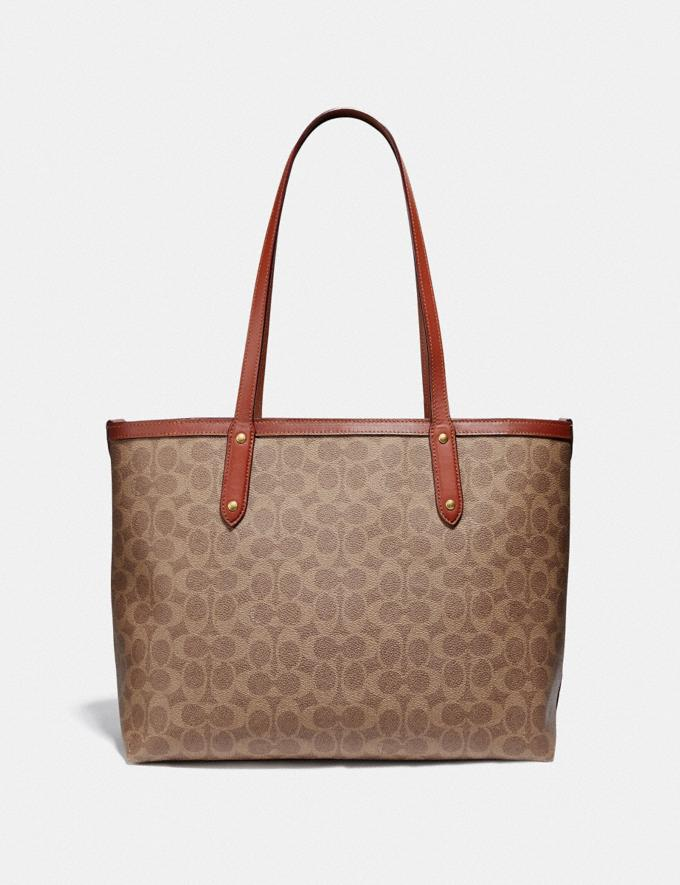 Coach Central Tote With Zip in Signature Canvas Tan/Rust/Brass Women Edits Travel Alternate View 2