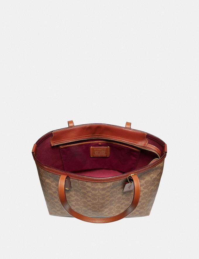 Coach Central Tote With Zip in Signature Canvas Tan/Rust/Brass Women Edits Travel Alternate View 3
