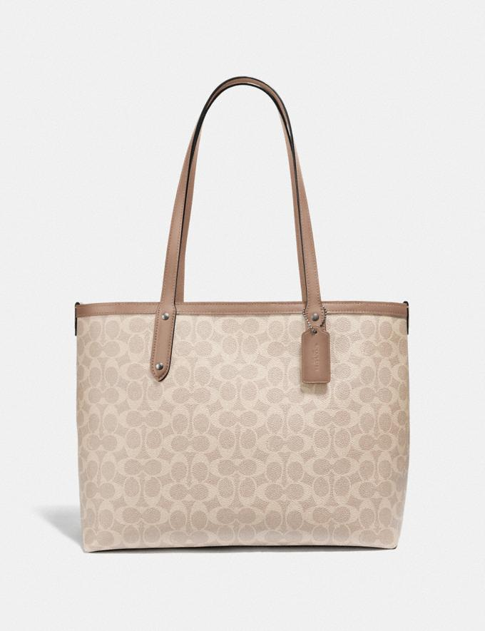 Coach Central Tote With Zip in Signature Canvas Lh/Sand Taupe Women Bags Totes