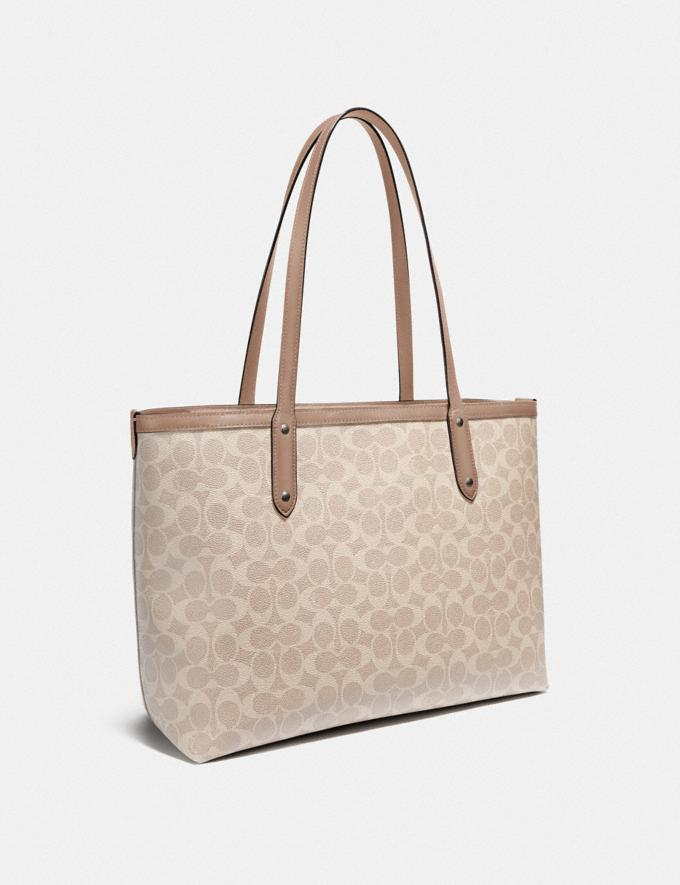 Coach Central Tote With Zip in Signature Canvas Lh/Sand Taupe Women Bags Totes Alternate View 1