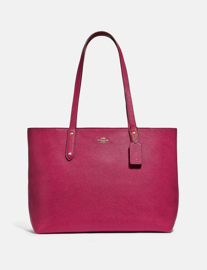 Coach Central Tote With Zip Bright Cherry/Gold New Women's New Arrivals