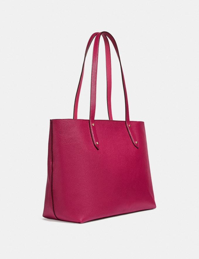 Coach Central Tote With Zip Bright Cherry/Gold New Women's New Arrivals Alternate View 1