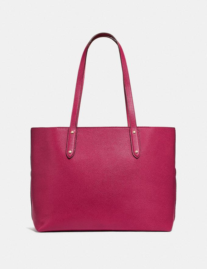 Coach Central Tote With Zip Bright Cherry/Gold New Women's New Arrivals Alternate View 2