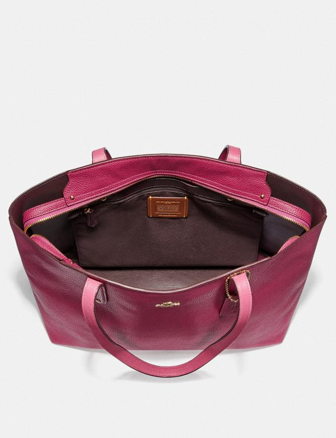 Coach Central Tote With Zip Bright Cherry/Gold New Women's New Arrivals Alternate View 3