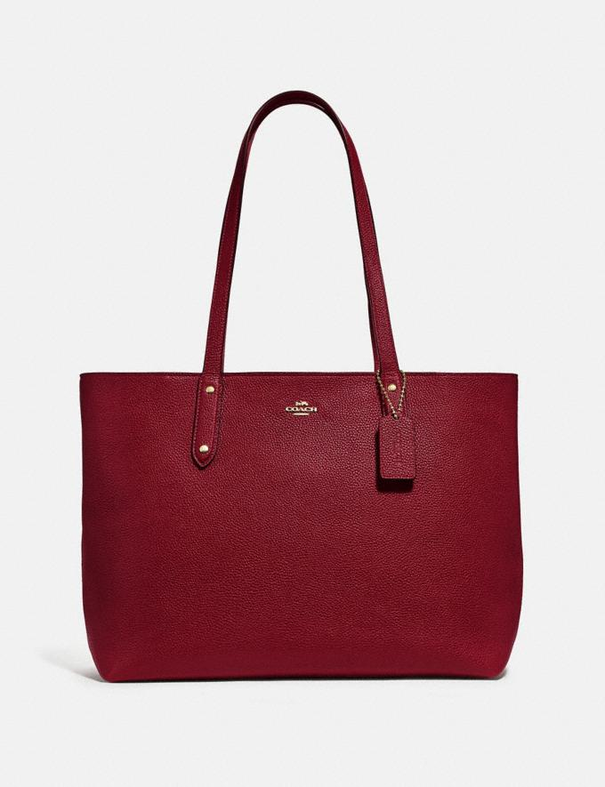 Coach Central Tote With Zip Gold/Deep Red Women Handbags Diaper Bags