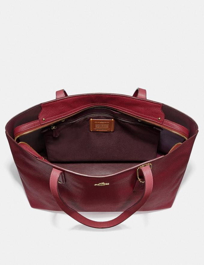 Coach Central Tote With Zip Gold/Deep Red Women Handbags Diaper Bags Alternate View 2