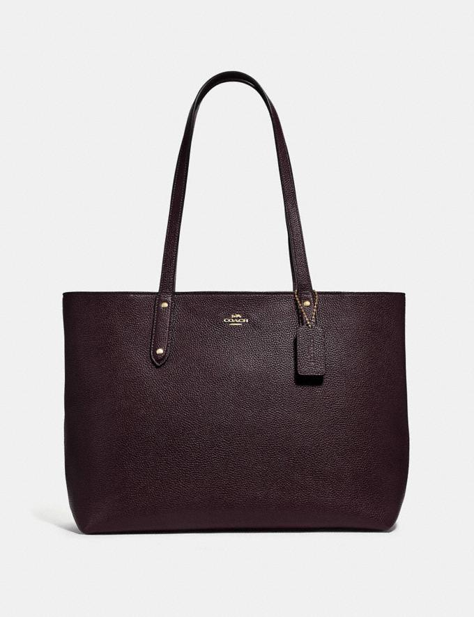 Coach Central Tote With Zip Gold/Oxblood New Women's New Arrivals Bags