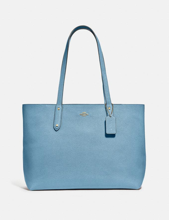 Coach Central Tote With Zip Gold/Pacific Blue