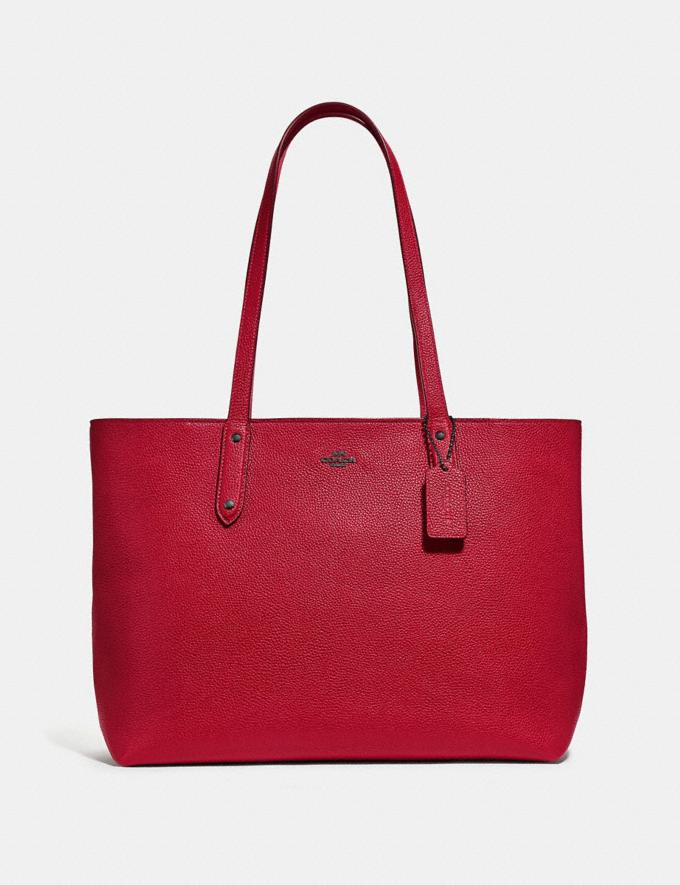 Coach Central Tote With Zip Gunmetal/Red Apple Women Bags Totes