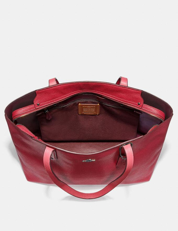 Coach Central Tote With Zip Gunmetal/Red Apple Women Bags Totes Alternate View 2