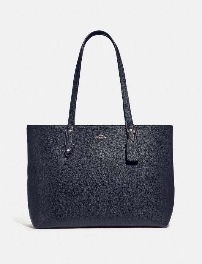 Coach Central Tote With Zip Silver/Midnight Navy Personalise For Her Bags