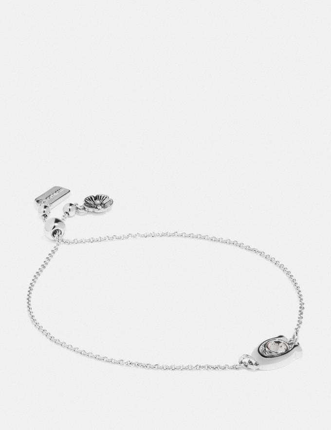 Coach Signature Stone Slider Bracelet Black/Silver Women Accessories Jewellery Bracelets