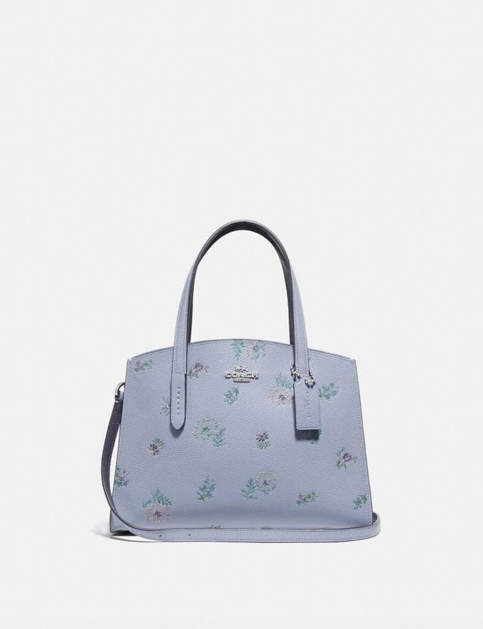 Coach Charlie Carryall 28 With Meadow Prairie Print Silver/Mist Women Bags Satchels